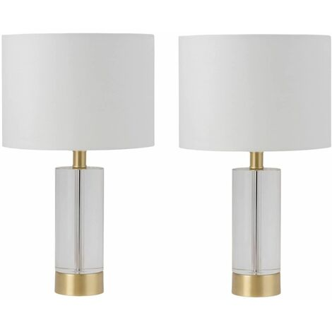 Modern Tall Crystal Table Lamps Bedside Lights Satin Brass White Shade