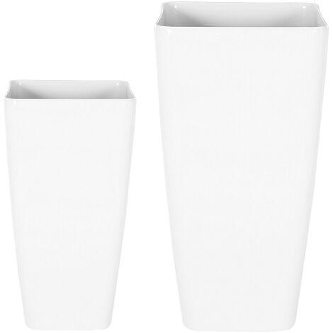 Modern Tall Set of 2 Flower Pot Outdoor Indoor Planter Stone White Modi