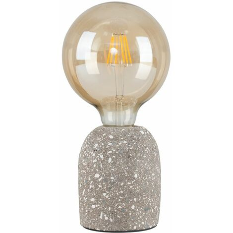 Modern Terrazzo Light Grey Dome Table Lamp + 6w LED Filament Bulb 2700K Warm White
