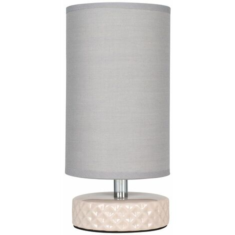 Modern Textured Zig Zag Ceramic Table Lamp with A Cotton Shade