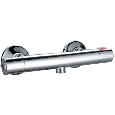"Modern Thermostatic Bar Mixer Shower Valve Round Chrome 1/2"" Bottom Outlet Brass"