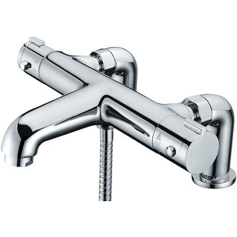 MODERN THERMOSTATIC BATH SHOWER MIXER TAP DECK PILLAR CHROME TAPS SET