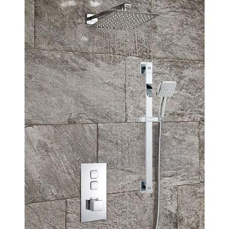 Modern Thermostatic Bathroom Shower Concealed Valve Chrome Adjustable Head