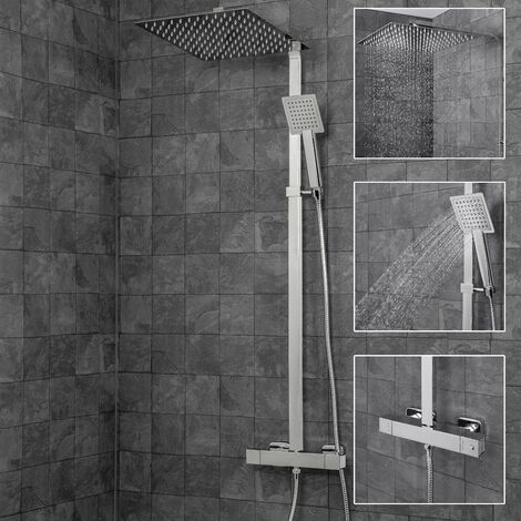 Modern Thermostatic Mixer Shower Exposed Bar Valve Square 300mm Drencher Chrome