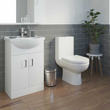 Modern Toilet Sink Basin Cloakroom Ceramic Gloss Vanity Unit Bathroom Suite