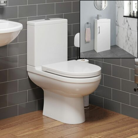 Modern Toilet Sink Basin Cloakroom Ceramic Vanity Unit Bathroom Suite White