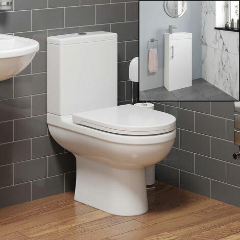 Modern Toilet Sink Basin Cloakroom Ceramic Vanity Unit Bathroom Suite White