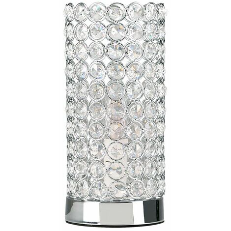 Modern Touch Table Lamp 23Cm Crystal Dimmer Chrome Bedside Table Lamp - Silver