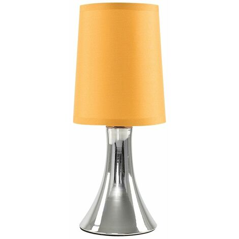 Modern Touch Table Lamp Dimmable Chrome Bedside Lounge Light Shade LED