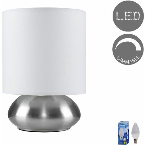 Modern Touch Table Lamp in Brushed Chrome with LED Bulb - White