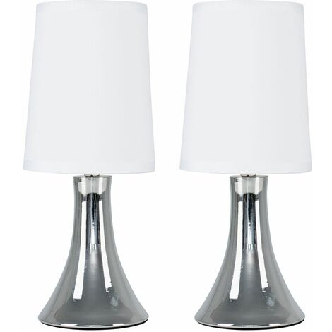 Modern Touch Table Lamp Pair Dimmable Chrome Bedside Lounge Light Shade - White - Silver