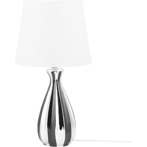Modern Transitional Table Lamp Bedside Light Silver and Black Base White Shade Vardja