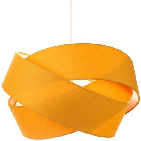 Modern Triple Ring Ochre Cotton Fabric Pendant Shade with White Satin Inner by Happy Homewares