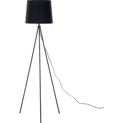 Modern Tripod Floor Lamp Black Fabric Tapered Drum Shade Metal Base Sambra