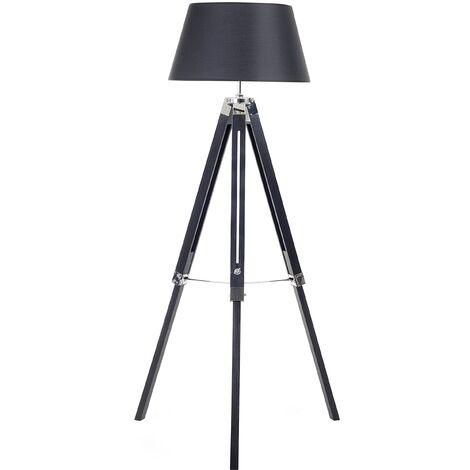 Modern Tripod Floor Lamp Black Tapered Drum Shade Fabric Madeira