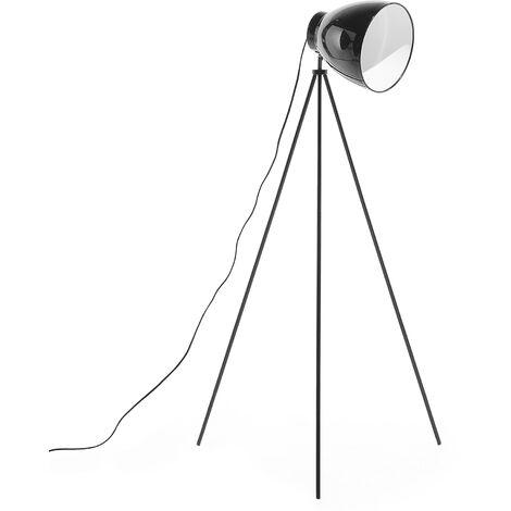 Modern Tripod Floor Lamp Metal Scandinavian Adjustable Lampshade Black Tamega