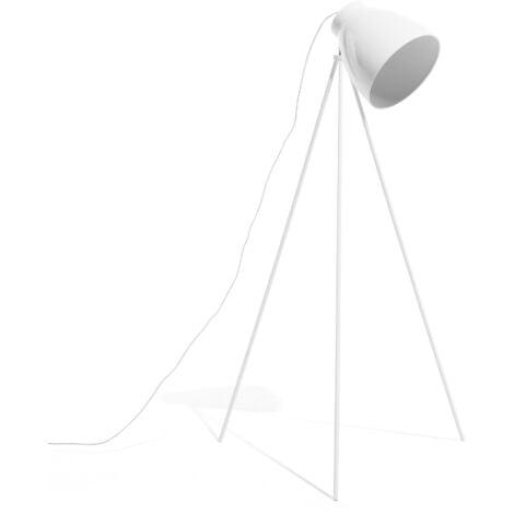 Modern Tripod Floor Lamp Metal Scandinavian Adjustable Lampshade White Tamega