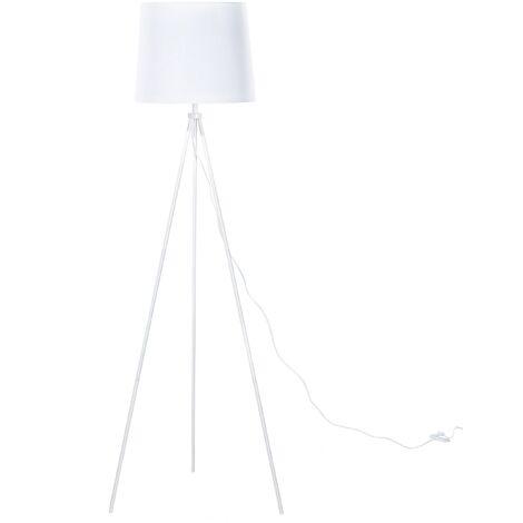 Modern Tripod Floor Lamp White Polyester Tapered Drum Shade Metal Base Sambra