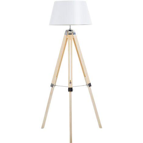Modern Tripod Floor Lamp White Tapered Drum Shade Fabric Maderia