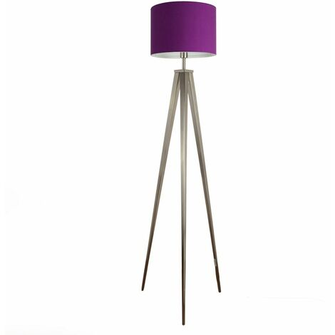 Modern Standard Floor Lamp in a Polished Chrome Finish with a Purple Cylinder Light Shade