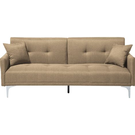 Modern Tufted Fabric Sofa Bed 3 Seater Beige Polyester Eucalyptus Wood Lucian