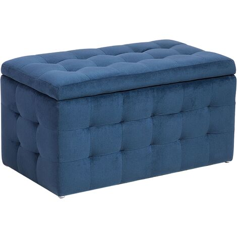 "main image of ""Modern Tufted Ottoman Bedroom Bench Storage Chest Dark Blue Velvet Michigan"""