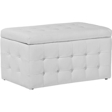 """main image of """"Modern Tufted Ottoman Bedroom Bench Storage Chest White Faux Leather Michigan"""""""