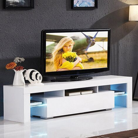 Modern TV Cabinet Stand Storage Drawer Shelf Table LED Living Room - Different colours