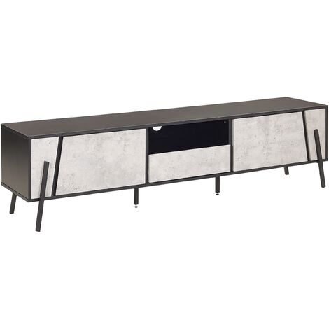 """main image of """"Modern TV Stand Concrete Effect Front Black Top Metal Legs Storage Cabinets Drawer Blackpool"""""""