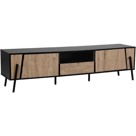 Modern TV Stand Dark Wood Front Black Top Metal Legs Storage Cabinets Drawer Blackpool