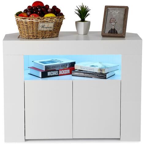 "main image of ""Modern TV Stand High Gloss Door Matte Body W/ RGB LED lights -White"""
