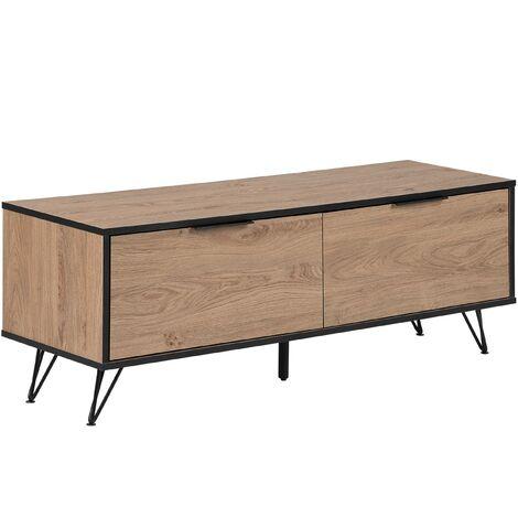 Modern TV Stand Metal Legs with Storage Cabinets Dark Wood Halston