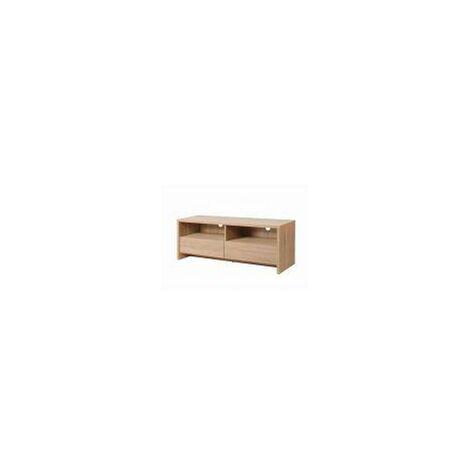 Modern TV Unit Stand 120cm Media Cabinet 2 Drawers + Shelf Oak Effect