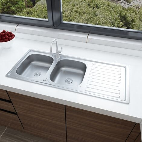 Modern Twin Bowl Catering Stainless Steel Kitchen Sink Drainer Waste Kits