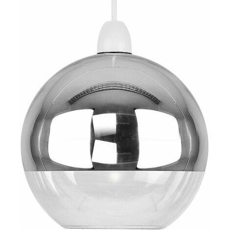Glass Globe Non Electric Ceiling Pendant Easy Light Copper /& Chrome Metallic