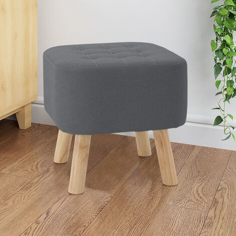Modern Upholstered Footstool Square Pouffe Stool Wooden Legs Grey