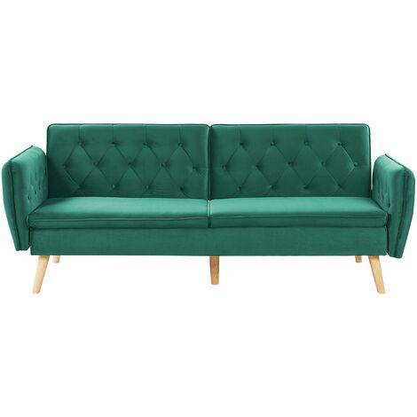 Modern Upholstered Sofa Bed Velvet Convertible Couch Buttoned Dark Green Bardu