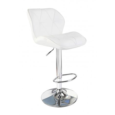 White Modern Uranus Padded Swivel Faux Leather Breakfast Kitchen Bar Stools Pub Barstools - White