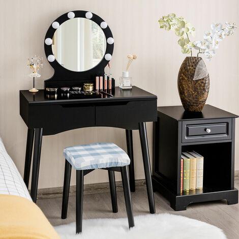 Modern Vanity Dressing Table Set Makeup Desk Cushioned Stool LED Light 2 Drawers Black