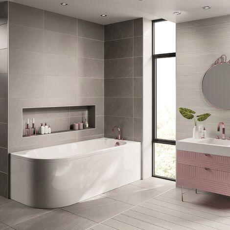 Modern Vasari Acrylic Universal Bath Panel ONLY White Gloss 1710mm J Shaped