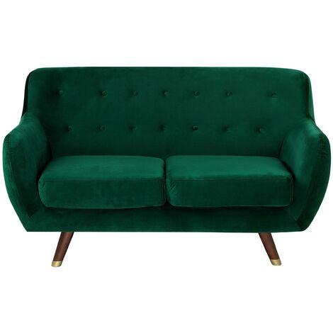 Modern Velvet 2 Seater Sofa Emerald Green Tufted Backrest Solid Wood Legs Bodo