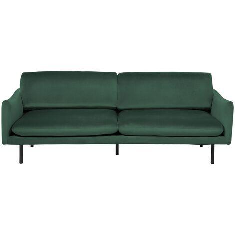 Modern Velvet 3 Seater Sofa Dark Green Fabric Cushion Seat Back Black Legs Vinterbro