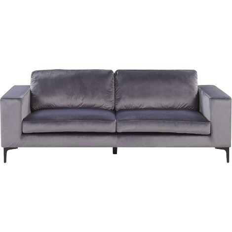 Modern Velvet 3 Seater Sofa Track Arms Metal Legs Dark Green Vadstena