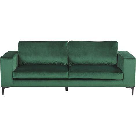 Modern Velvet 3 Seater Sofa Track Arms Metal Legs Green Vadstena