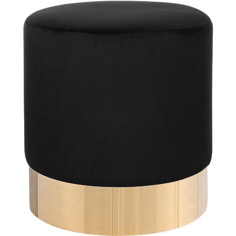 Modern Velvet Accent Pouffe Black Fabric Round Gold Base Footstool Sophia