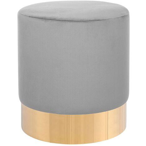 Modern Velvet Accent Pouffe Light Grey Fabric Round Gold Base Footstool Sophia