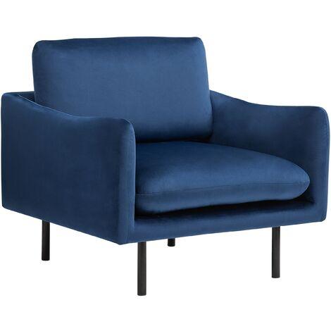 Modern Velvet Armchair Dark Blue Fabric Cushion Seat Back Black Legs Vinterbro