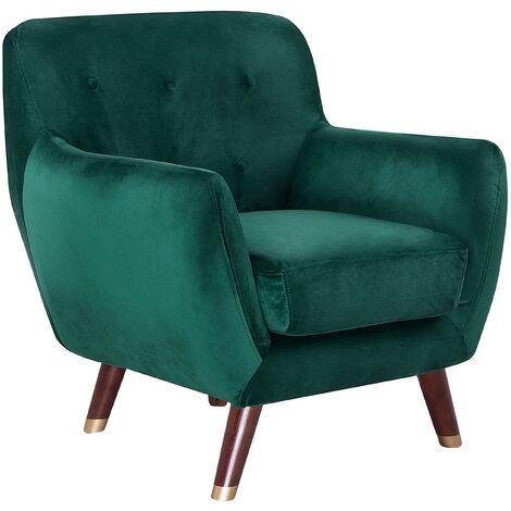 Modern Velvet Armchair Emerald Green Tufted Backrest Solid Wood Legs Bodo