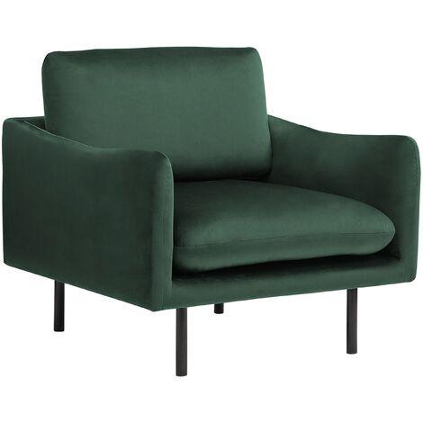 Modern Velvet Armchair Green Fabric Cushion Seat Back Black Legs Vinterbro