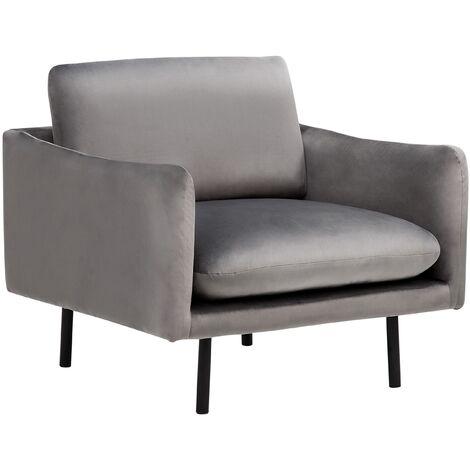Modern Velvet Armchair Grey Fabric Cushion Seat Back Black Legs Vinterbro
